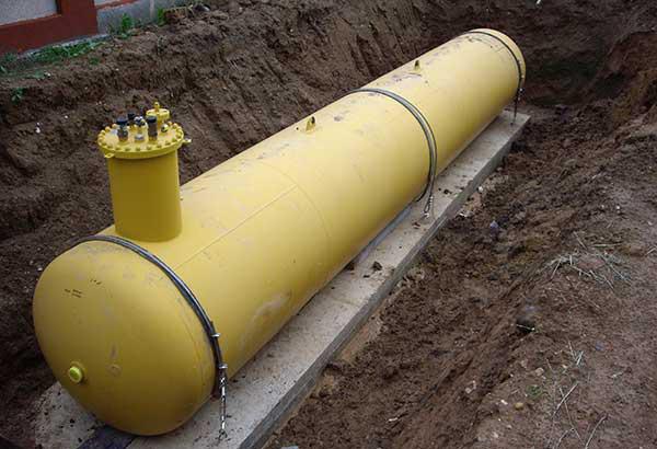 Система газгольдера при установке под землей