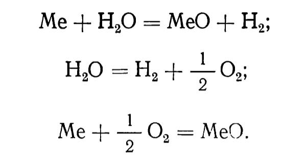химическая реакция окисления металла