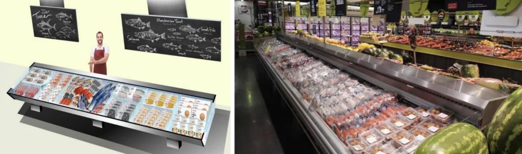 рыбный магазин с различными видами упаковки продукта